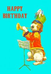 Happy Birthday Dog Vintage Illustration Greeting Card.