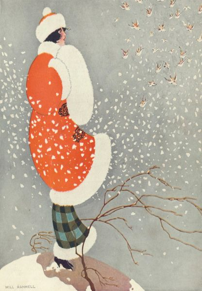Snow Buntings Stylish Art Deco Christmas Card The Vintage Card