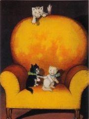 £1 Card!!! 'Tickled' Cute Vintage Cat Illustration Greeting Card.