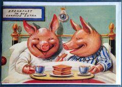 'Breakfast in Bed' Fun Vintage Pig Greeting Card