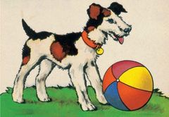'Let's Play!' Bold and Colourful Vintage Dog illustration Greeting Card