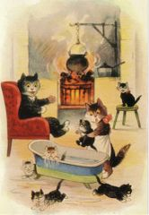 £1 Card!!! 'The Weekly Bath' Vintage Black Cat Illustration Greeting Card.