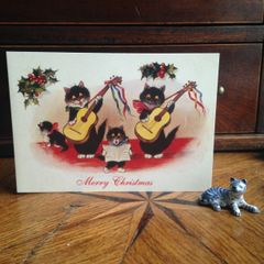 £1 Christmas Card!!! 'Christmas Music' Vintage Black Cat Greeting Card Repro.