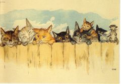 'The Curiosity of Cats' A Cute Vintage Reproduction Greeting Card