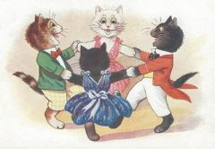 The Cat Dance. Cheery Vintage Illustration Greeting Card.