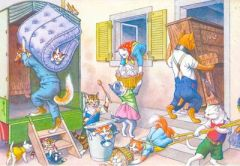The Big Move. Vintage Illustration Greeting Card of Cats Moving House.