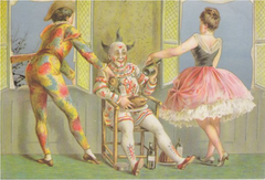 Christmas Cheer. Unusual Vintage Christmas Card Reproduction with Clown and Harlequin?