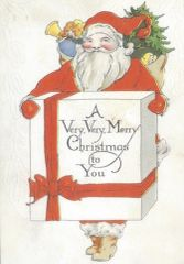 £1 Christmas Card!!! 'A Big Box from Santa' Vintage Christmas Card Repro.