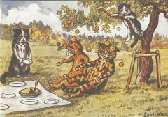 £1 Card!!! 'The Picnic' Fun Vintage Cat Greeting Card. Illustration by Louis Wain.