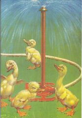 Cute Vintage Greeting Card of Ducklings Playing