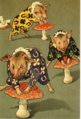 £1 Card!!! Pigs Playing Leapfrog Unusual Vintage Greeting Card Reproduction