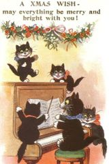 £1 Christmas Card!!! 'A Xmas Wish' Vintage Cat Christmas Card Repro.