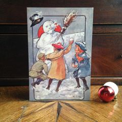 £1 Christmas Card!!! 'Off Flies The Snowman's Hat!' Traditional Victorian Christmas Card Repro