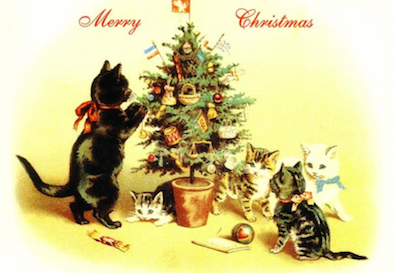 the last decoration vintage cat card repro christmas tree
