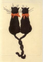 Together. Vintage Black Cat Greeting Card. Perfect for Anniversary or Valentines Day.
