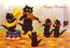 The Musicians. Vintage Illustration Black Cat Birthday Card