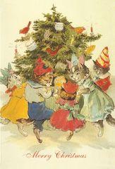 The Christmas Tree. Vintage Cat Illustration Christmas Card