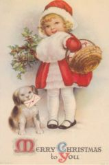 Little Girl with Dog Vintage Christmas Card Repro