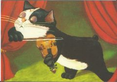 £1 Card!!! 'The Great Violinist' Fantastic Vintage Cat illustration Greeting Card. Music.