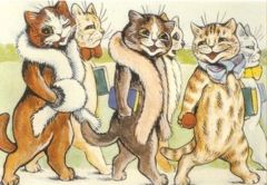 The Reading Club's Outing. Louis Wain Illustration Greeting Card.