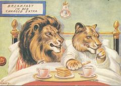 Breakfast in Bed. Vintage Lion Illustration Greeting Card