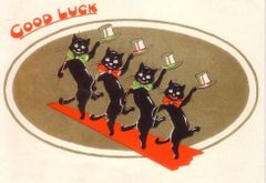 The Dancing Cats. Vintage Black Cat Good Luck Card.