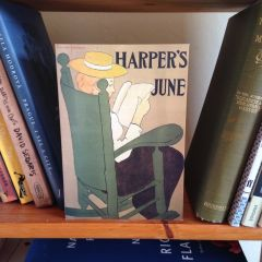 'Reading Harper's Magazine' Vintage Illustration Greeting Card