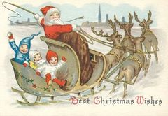 Best Christmas Wishes. Edwardian Santa on a Sleigh Illustration Christmas Card.