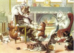 £1 Card!!! 'The Cats at Home' Vintage Cat Family Illustration Greeting Card.