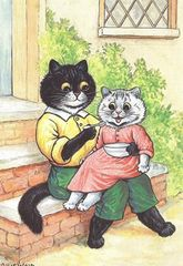 Lunch Time. Louis Wain Illustration Greeting Card.