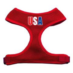 "Dog Harnesses: Screen Print - ""USA"" Soft Mesh Dog Harness in Several Sizes & Colors USA"
