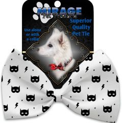 DOG BOW TIE: Decorative & Classy Silky Polyester Bow Tie for Dogs - SUPER HERO MASKS