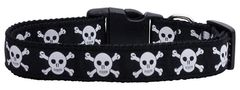 Holiday Nylon Dog Collars: Nylon Ribbon Collar by Mirage Pet Products - SKULLS