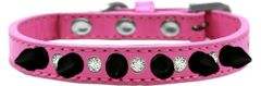 "Spiked Dog Collars: Beautiful 1/2"" Wide Collar Clear Crystals & Black Spikes Mirage Pet Products"