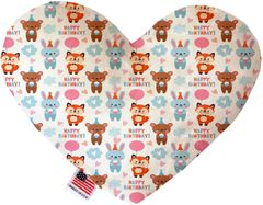 PET TOYS: Soft Velvety Fabric Heart Shape Pet Toy BIRTHDAY BUDDIES in Two Sizes Made in USA by MiragePetProducts