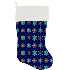 "DOG CHRISTMAS STOCKING: High Quality Velvet 18"" Long Christmas Dog Stocking - STAR OF DAVIDS & SNOWFLAKES"