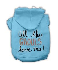 Dog Hoodies: ALL THE GHOULS LOVE ME Screen Print Dog Hoodie in Various Colors & Sizes by MiragePetProducts