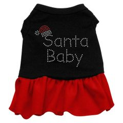 DOG DRESSES: Rhinestone Dress SANTA BABY Poly/Cotton with Ruffle Trim in Two Colors & Various Sizes by Mirage
