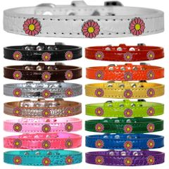 Dog Collars: Cute Dog Collars with Cute PINK DAISY Widgets on Croc Dog Collar in Different Colors & Sizes USA