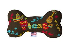PET TOYS: Durable Fluffy Fabric Bone Shape Pet Toy FIESTA in 3 Sizes Made in USA by MiragePetProducts