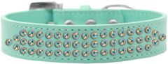BLING DOG COLLARS: Dog Collar in Various Sizes & Colors USA by Mirage - THREE ROWS AB CRYSTALS