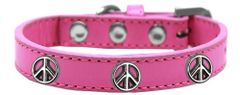 Dog Collars: Cute Dog Collar with PEACE SIGN Widgets on Premium Vegan Leather Dog Collar in Different Colors & Sizes by Mirage USA