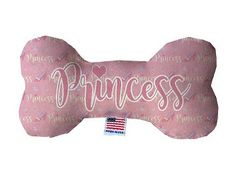 PET TOYS: Durable Fluffy Fabric Bone Shape Pet Toy PRINCESS in 3 Sizes Made in USA by MiragePetProducts