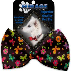 DOG BOW TIE: Decorative & Classy Silky Polyester Bow Tie for Dogs - BUTTERFLIES IN BROWN