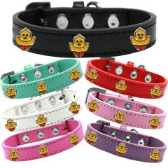 Dog Collars: Cute Easter Premium Dog Collar with Easter Chickadee Widgets Different Colors & Sizes. Made in USA