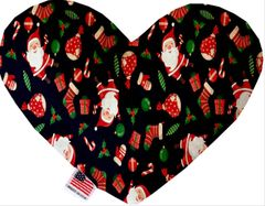 PET TOYS: Soft Velvety Fabric Heart Shape Pet Toy SANTA in 4 Patterns/Two Sizes Made in USA by MiragePetProducts