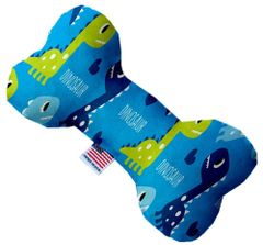 PET TOYS: Soft Durable Fabric or Canvas Bone Shape Pet Toy in 3 Sizes Made in USA by MiragePetProducts - BLUE DINOSAURS