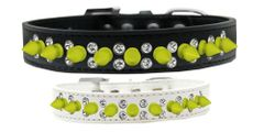 "Spike Dog Collars: Beautiful 3/4"" Wide Collar Double Clear Crystals & Neon Yellow Spikes Mirage Pet Products"