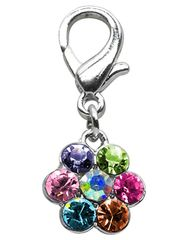 Pet Charms: Beautiful Austrian Crystals Dog Dangle Flower Charm for Dog Collars Mirage