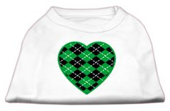 Dog Shirts: ARGYLE HEART GREEN Screen Print Dog Shirt in Various Colors & Sizes by Mirage